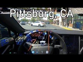 Navigating around Pittsburg, CA in FSD BETA 8.2