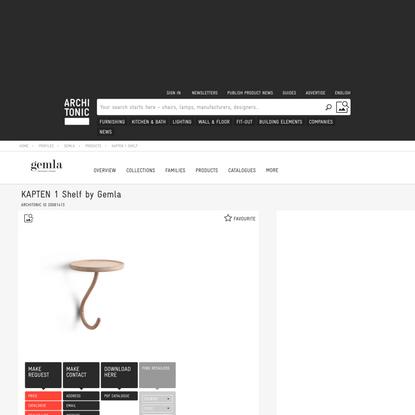 KAPTEN 1 SHELF - Single hooks from Gemla   Architonic
