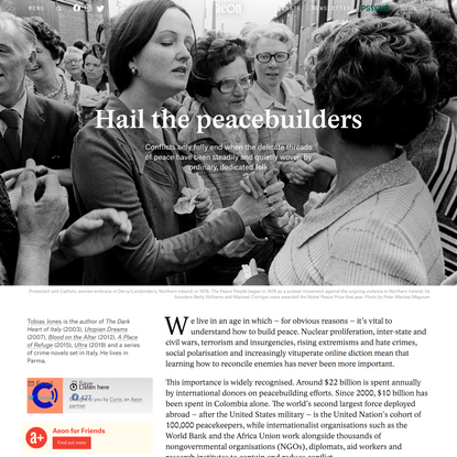 Peacebuilding is an artform crafted by divided peoples – Tobias Jones   Aeon Essays