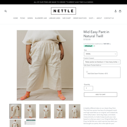 Mid Easy Pant in Natural Twill