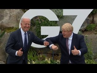 Biden and Boris Johnson Bump Elbows Ahead of G-7