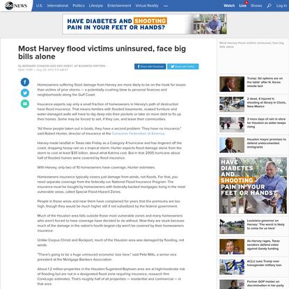 Most Harvey flood victims uninsured, face big bills alone