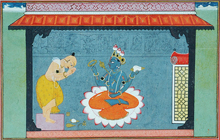 The poet Jayadeva bows to Vishnu. The very picture of devotion, bare-bodied, head bowed, legs crossed and hands folded, Jayadeva stands at left, with the implements of worship placed before the lotus-seat of Vishnu who sits there, blessing the poet. Gouache on paper.