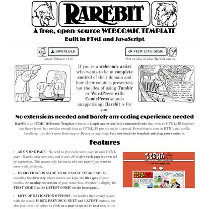 Rarebit | HTML Webcomic Template