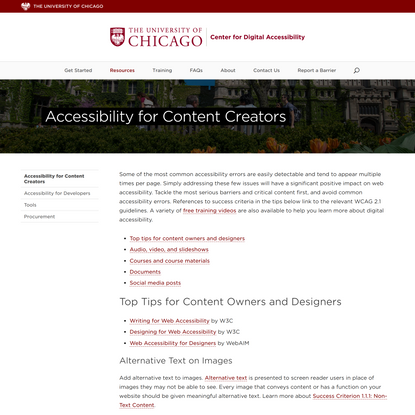 Accessibility for Content Creators   Center for Digital Accessibility   The University of Chicago