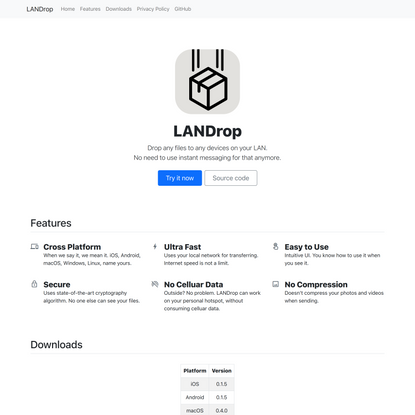 LANDrop - Drop any files to any devices on your LAN