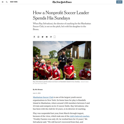 How a Nonprofit Soccer Leader Spends His Sundays - The New York Times