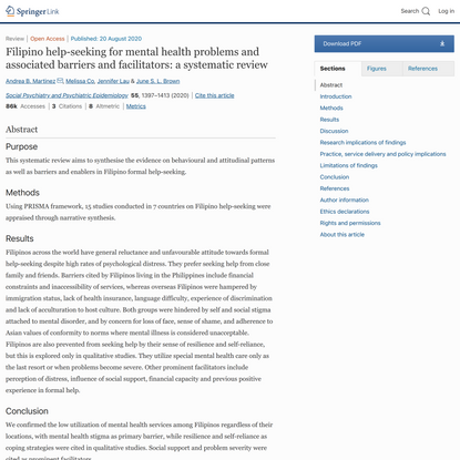 Filipino help-seeking for mental health problems and associated barriers and facilitators: a systematic review