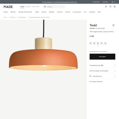 Todd hanglampenkap, oranje en bamboe | MADE.com