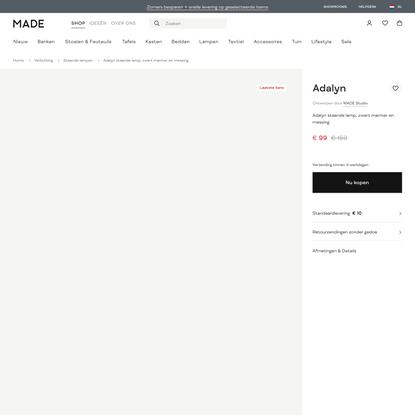 Adalyn staande lamp, zwart marmer en messing | MADE.com