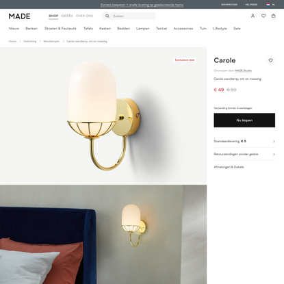 Carole wandlamp, wit en messing | MADE.com