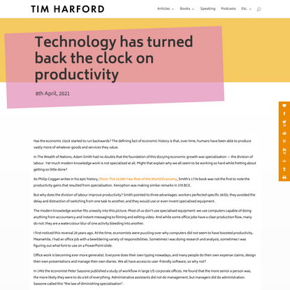 Technology has turned back the clock on productivity   Tim Harford