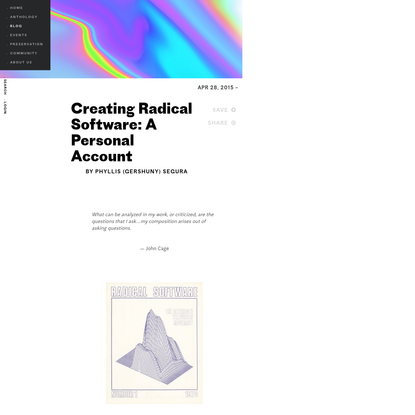 Creating Radical Software: A Personal Account