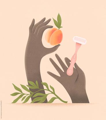 Hands With A Razor Shaving A Peach. by Ivan Haidutski - Body Care, Intimate Hygiene