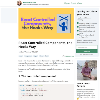 React Controlled Components, the Hooks Way
