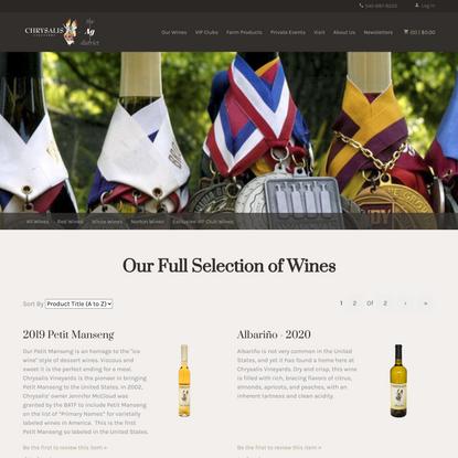Chrysalis Vineyards - Wines