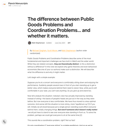 The difference between Public Goods Problems and Coordination P… — Mirror