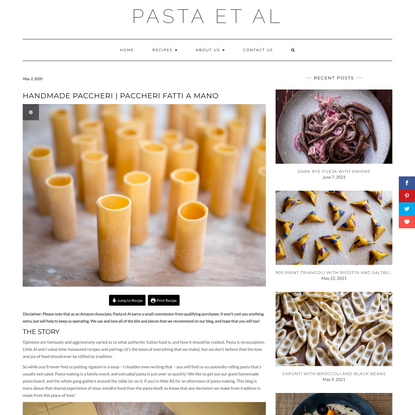 Handmade Paccheri | Paccheri Fatti a Mano - Pasta et Al