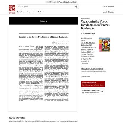 Creation in the Poetic Development of Kamau Brathwaite on JSTOR