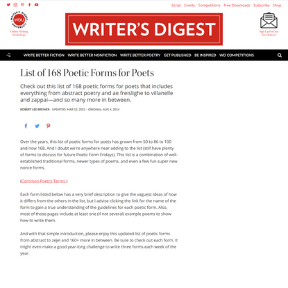 List of 168 Poetic Forms for Poets