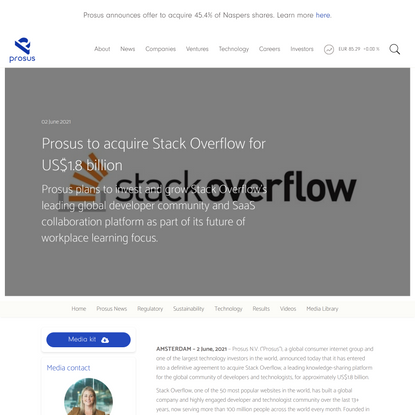 Prosus to acquire Stack Overflow for US$1.8 billion