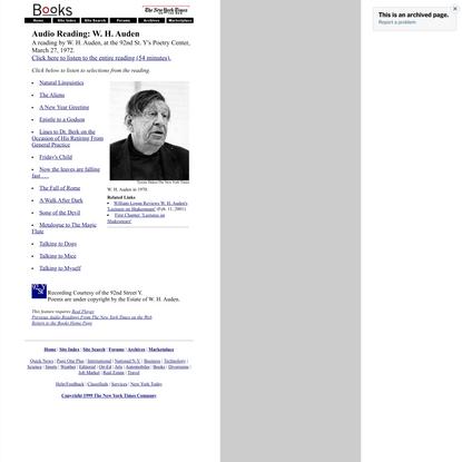 Audio Reading: W. H. Auden
