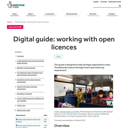Digital guide: working with open licences | The National Lottery Heritage Fund