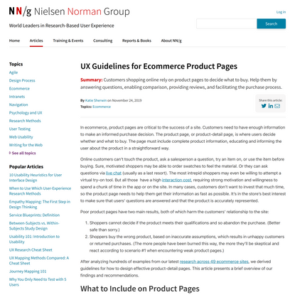 UX Guidelines for Ecommerce Product Pages