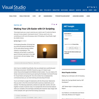 Making Your Life Easier with C# Scripting -- Visual Studio Magazine