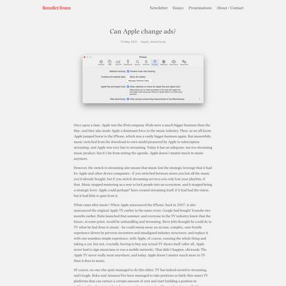 Can Apple change ads? — Benedict Evans