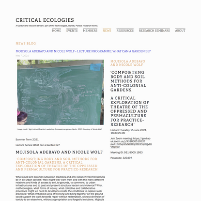 Mojisola Adebayo and Nicole Wolf - Lecture Programme: What Can A Garden Be? — Critical Ecologies