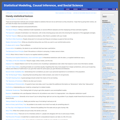 Handy statistical lexicon « Statistical Modeling, Causal Inference, and Social Science