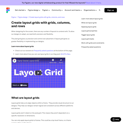 Create layout grids with grids, columns, and rows