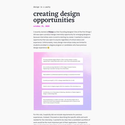 creating design opportunities