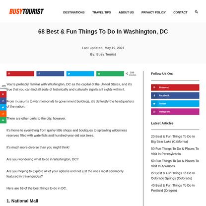 68 Best & Fun Things To Do In Washington, DC