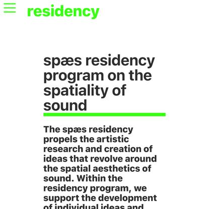 residency — spaes