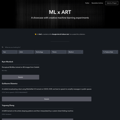 ML Art - A showcase with creative machine learning artworks and projects