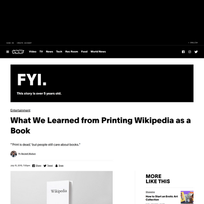 What We Learned from Printing Wikipedia as a Book