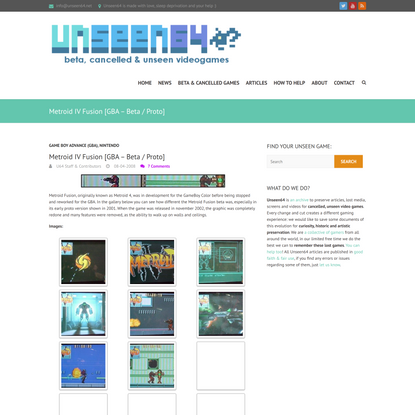 Metroid IV Fusion [GBA - Beta / Proto] - Unseen64