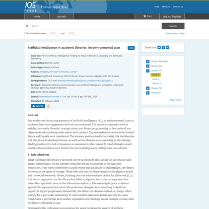 Artificial intelligence in academic libraries: An environmental scan - IOS Press