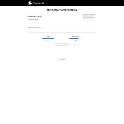 EleutherAI - text generation testing UI