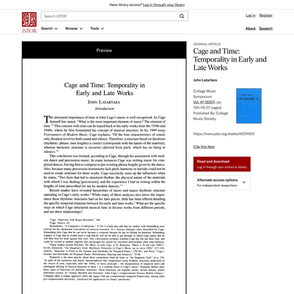 Cage and Time: Temporality in Early and Late Works on JSTOR