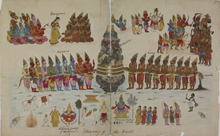 Various scenes from the Samudra Manthan (churning of the Ocean of Milk)