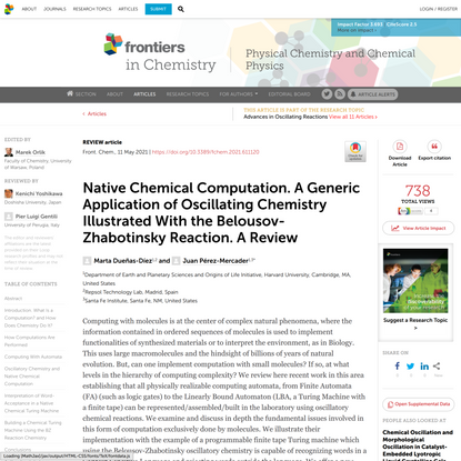 Native Chemical Computation. A Generic Application of Oscillating Chemistry Illustrated With the Belousov-Zhabotinsky Reacti...