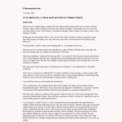 Chimamanda.com | IT IS OBSCENE: A TRUE REFLECTION IN THREE PARTS