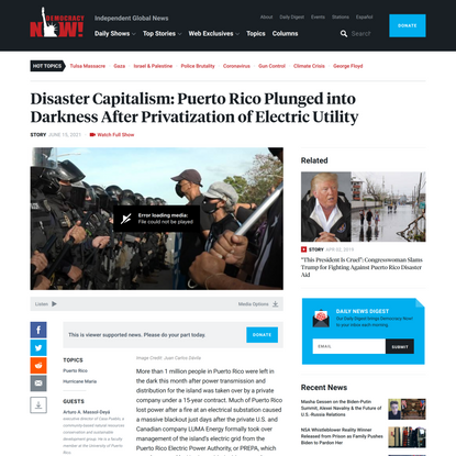 Disaster Capitalism: Puerto Rico Plunged into Darkness After Privatization of Electric Utility   Democracy Now!