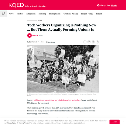 Tech Workers Organizing Is Nothing New ... But Them Actually Forming Unions Is | KQED