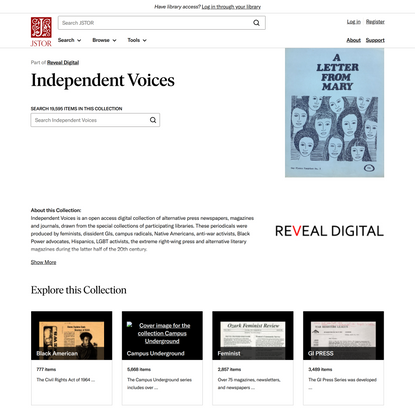 Independent Voices on JSTOR