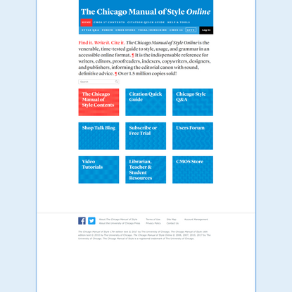 The Chicago Manual of Style, 17th Edition