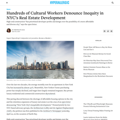 Hundreds of Cultural Workers Denounce Inequity in NYC's Real Estate Development